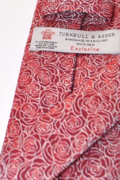 Red Burgundy White Outlined Roses Print