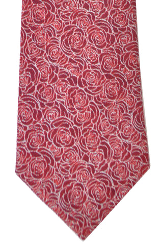 Turnbull & Asser Tie Red Burgundy White Outlined Roses Fall/ Winter 2016/ 2017