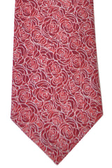 Turnbull & Asser Tie Red Burgundy White Outlined Roses