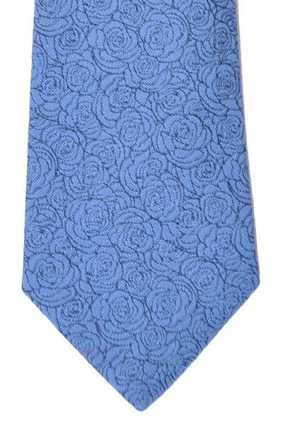 Turnbull & Asser Tie Navy Blue White Outlined Roses
