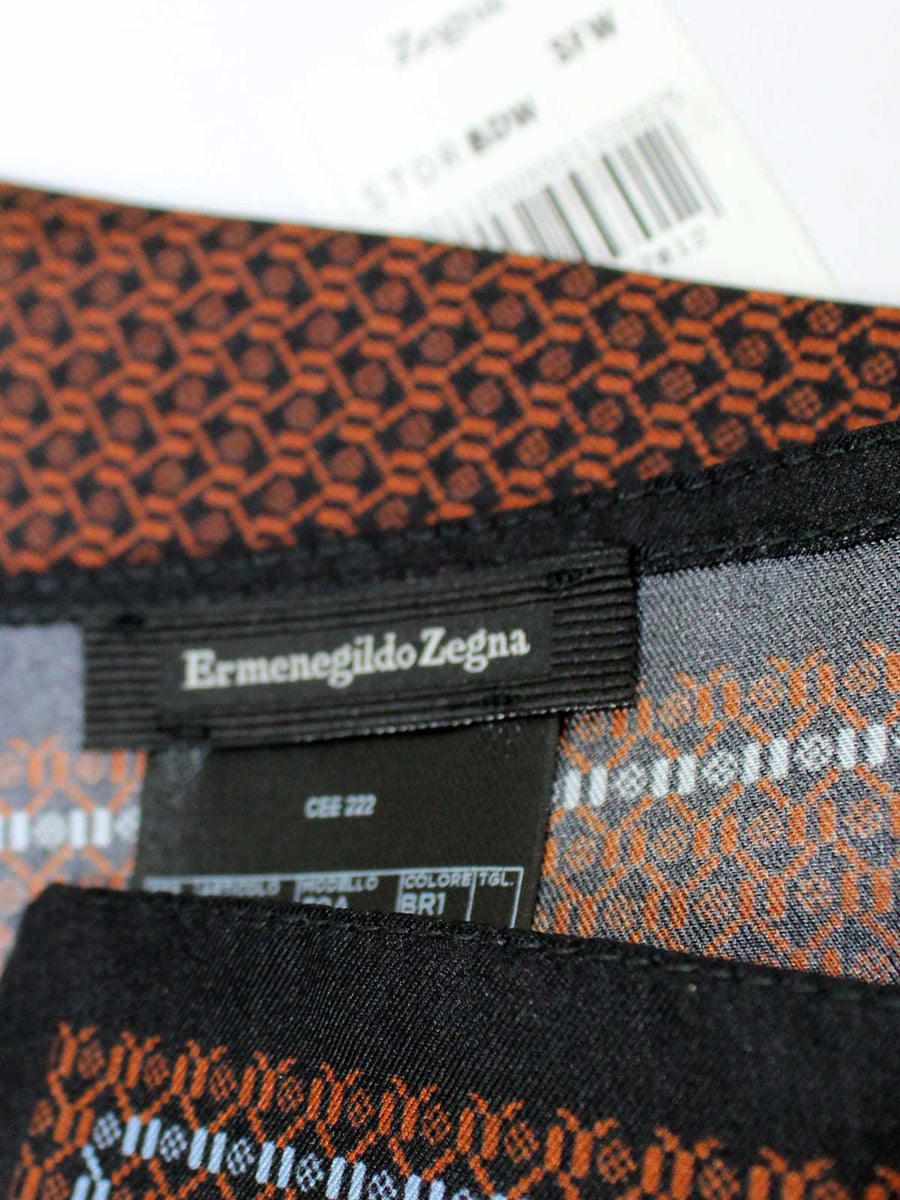Ermenegildo Zegna Silk Pocket Square Black Brown Blue