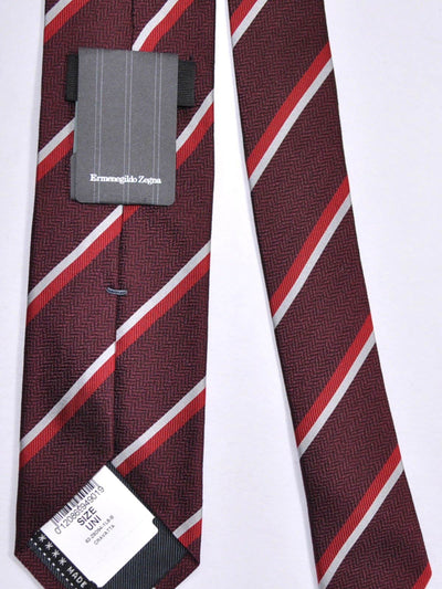 Ermenegildo Zegna Silk Tie Maroon-Brown Gray Stripes SALE