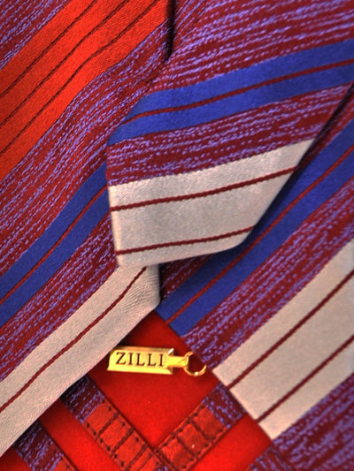 Zilli Tie Burgundy Navy Royal Blue Gray Stripes - Wide Necktie - FINAL SALE