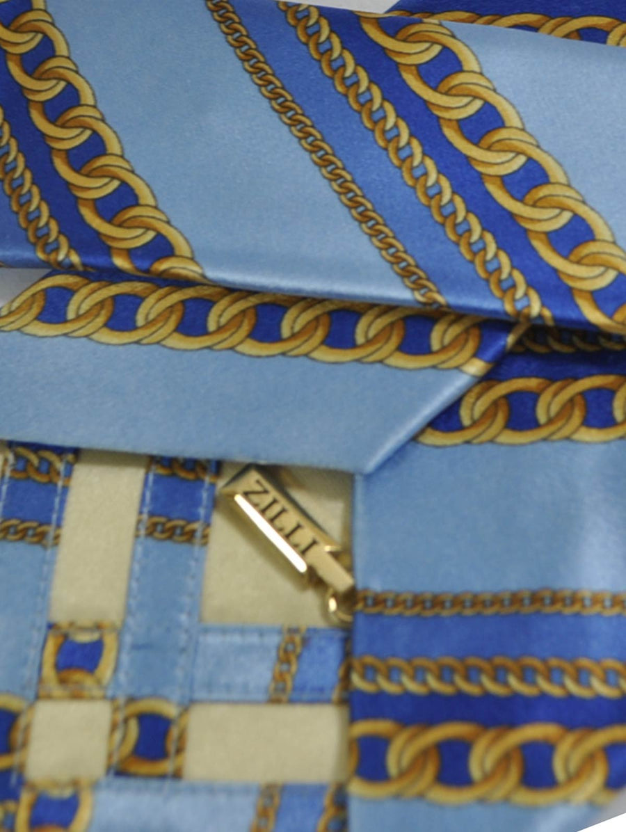 Zilli Tie Sky Blue Gold Chain Stripes FINAL SALE