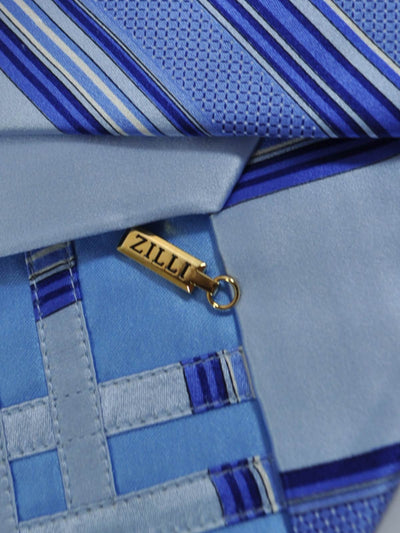 Zilli Extra Long Tie Blue Stripes