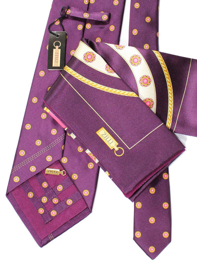 Zilli Silk Tie & Pocket Square Set Purple Pink Gold