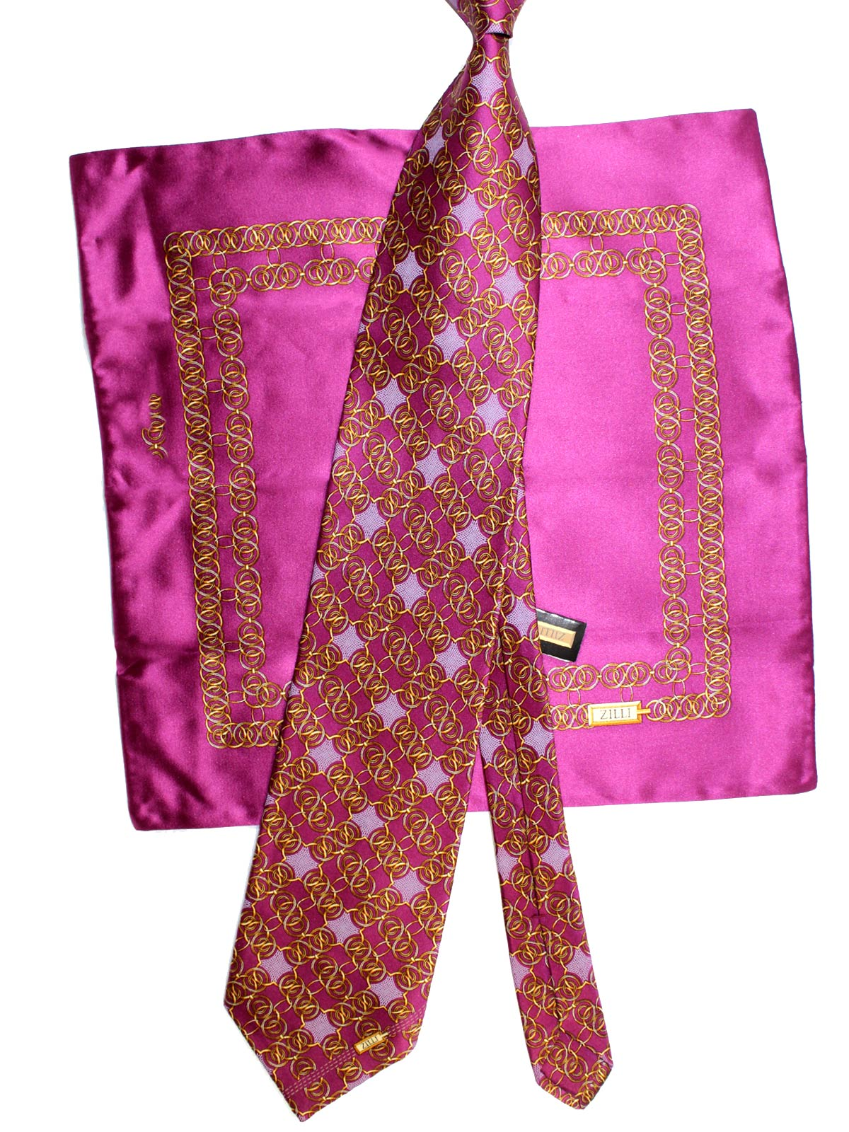 Zilli Silk Tie & Pocket Square Set Purple Orange Gold Geometric