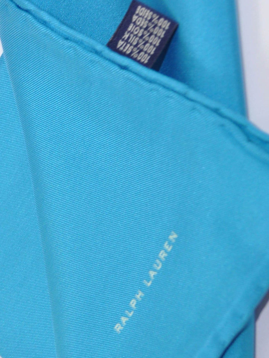 Ralph Lauren Silk Pocket Square Solid Aqua Blue SALE