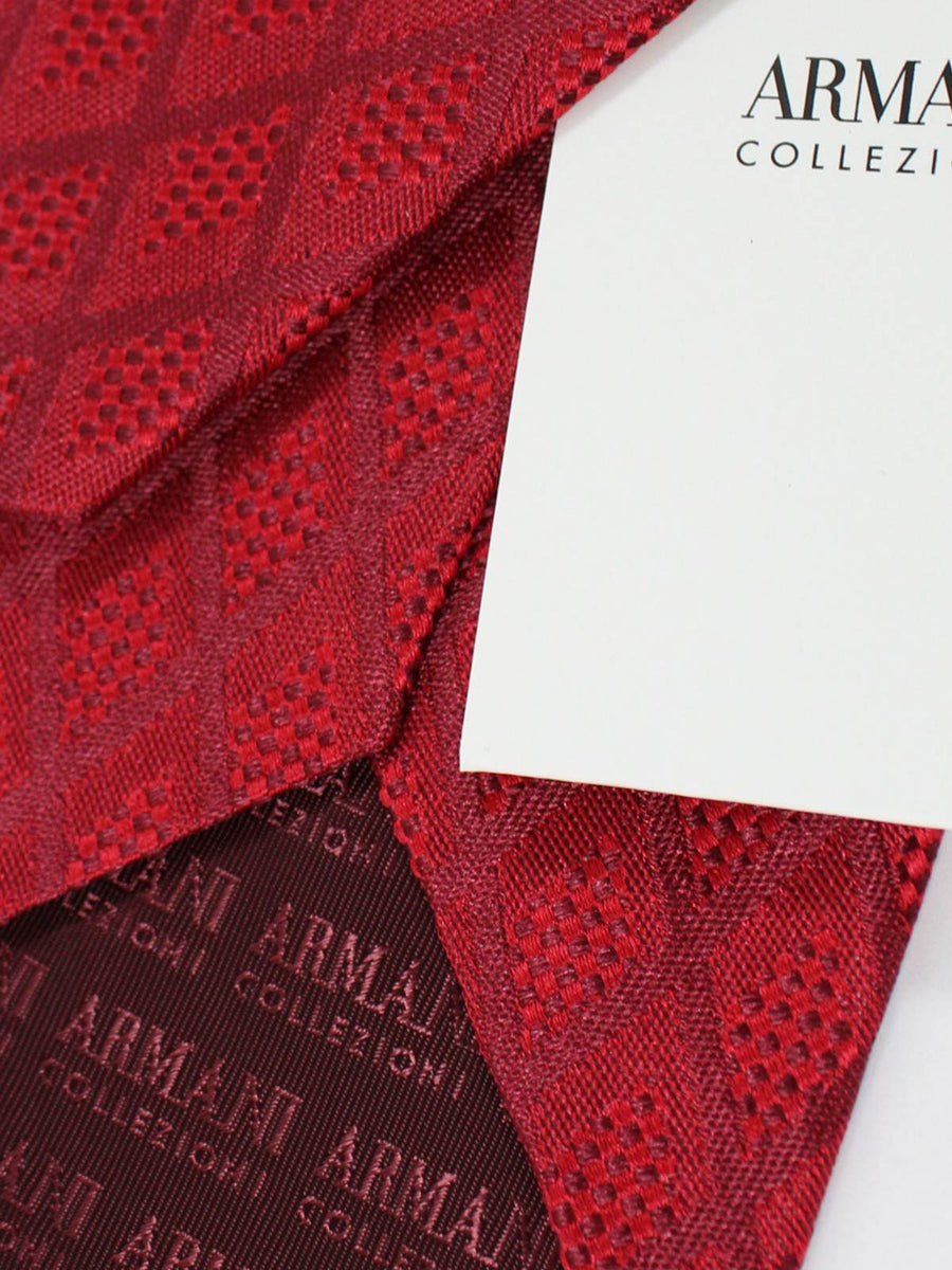 Armani Collezioni Tie Red Burgundy Diamonds