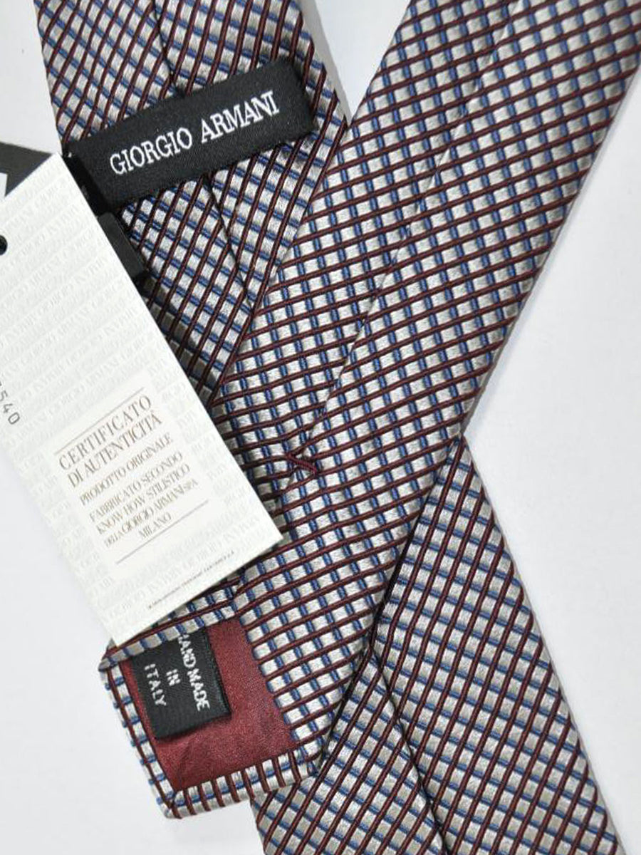 Giorgio Armani Tie Garnet Red Blue Grid Design
