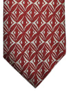 Giorgio Armani Tie Dark Red Silver Geometric Design
