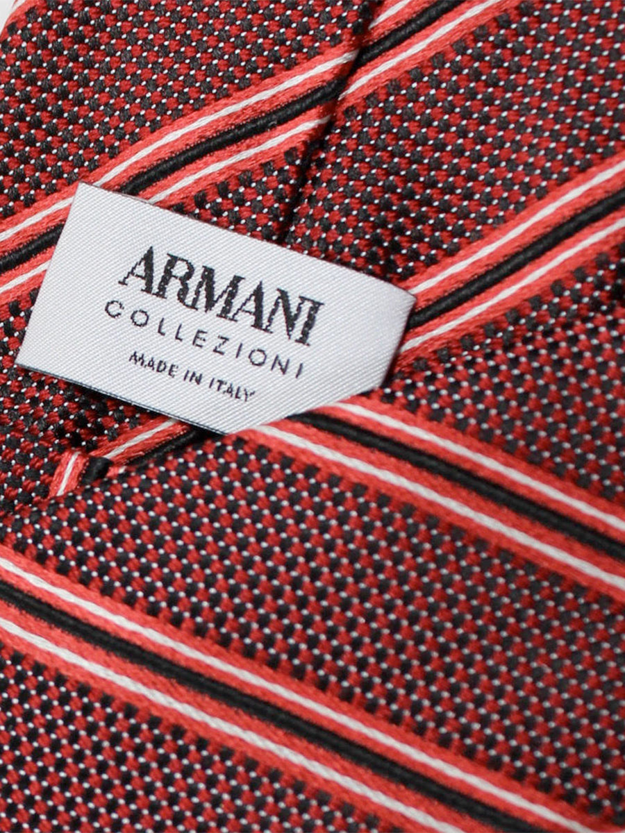 Armani Collezioni Tie Black Red Silver Stripes