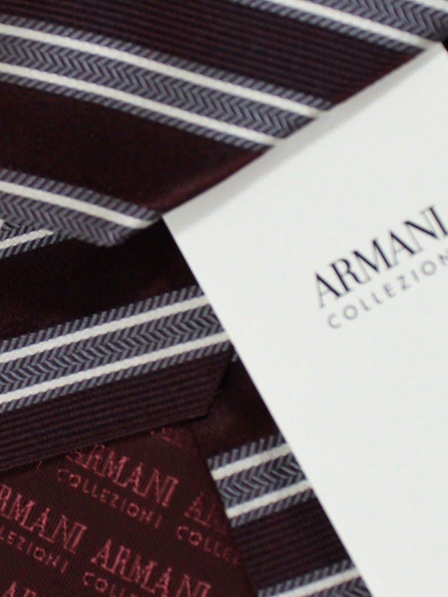 Armani Collezioni Tie Wine Purple Gray Stripes
