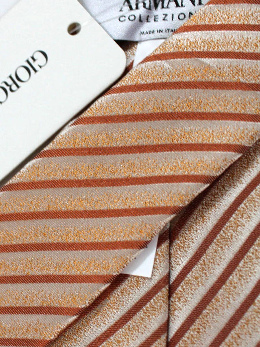 Armani Tie Orange Silver Stripes Armani Collezioni