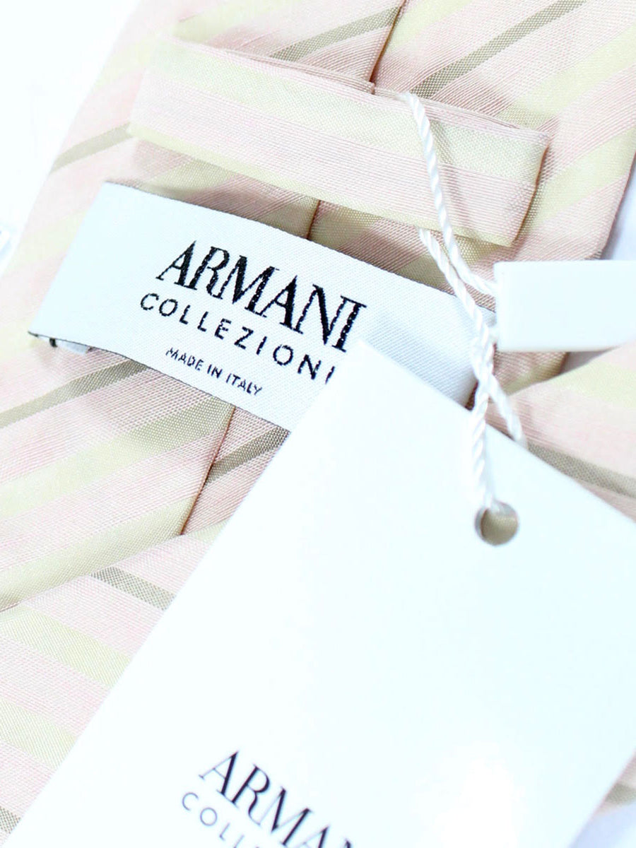 Armani Collezioni Tie Pink Stripes Linen Silk FINAL SALE