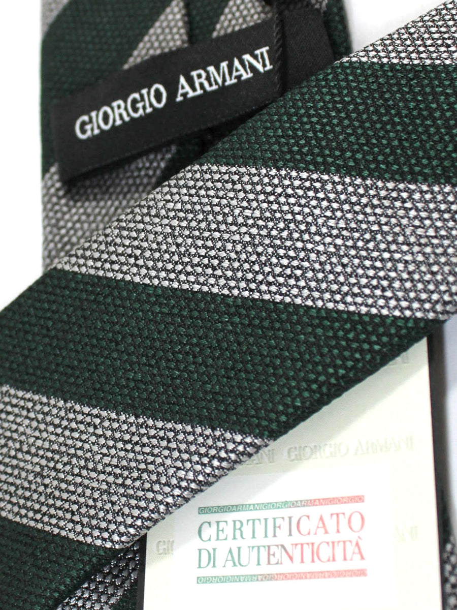 Armani Tie Green Silver Stripes Silk
