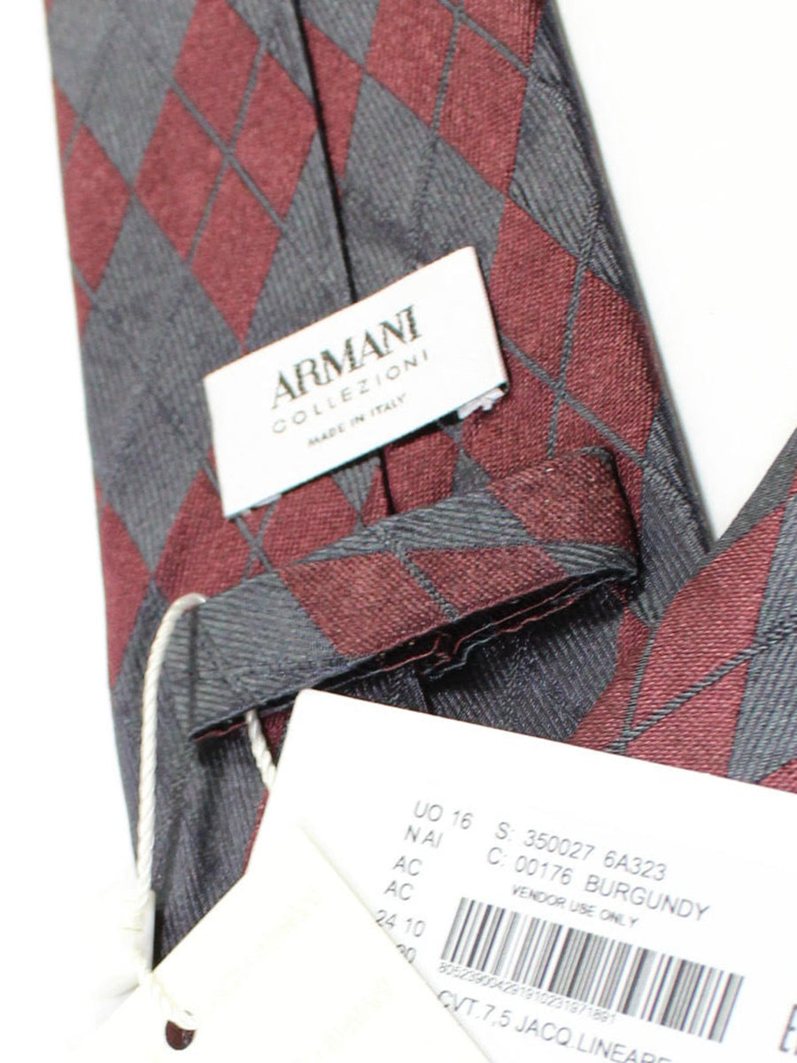 Armani Tie Gray Maroon Plaid Silk