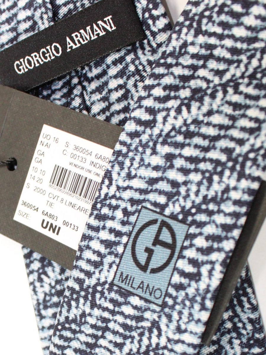 Giorgio Armani Tie Midnight Gray White Silk
