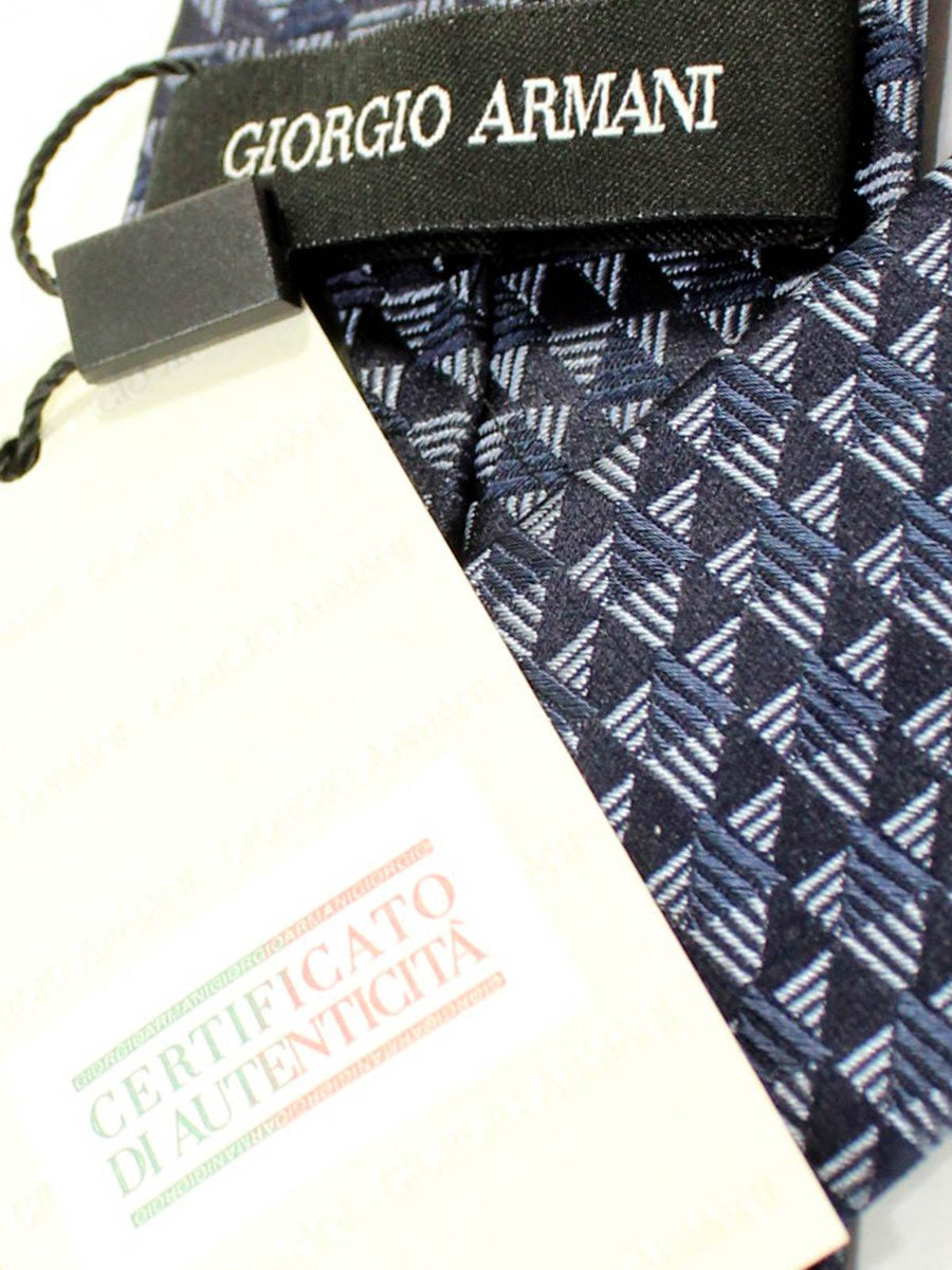 Armani Tie Midnight Navy Geometric Silk