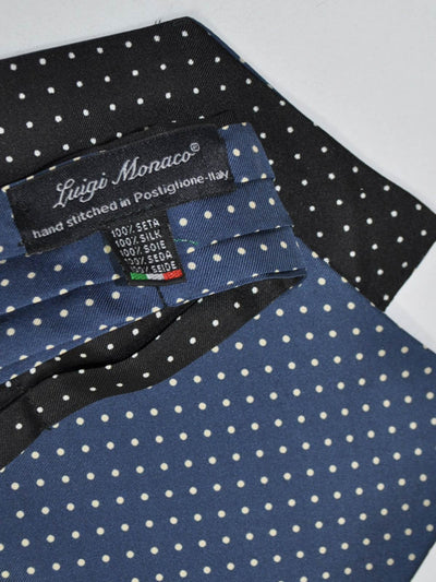 Luigi Monaco Silk Ascot Tie Dark Blue Brown Polka Dots