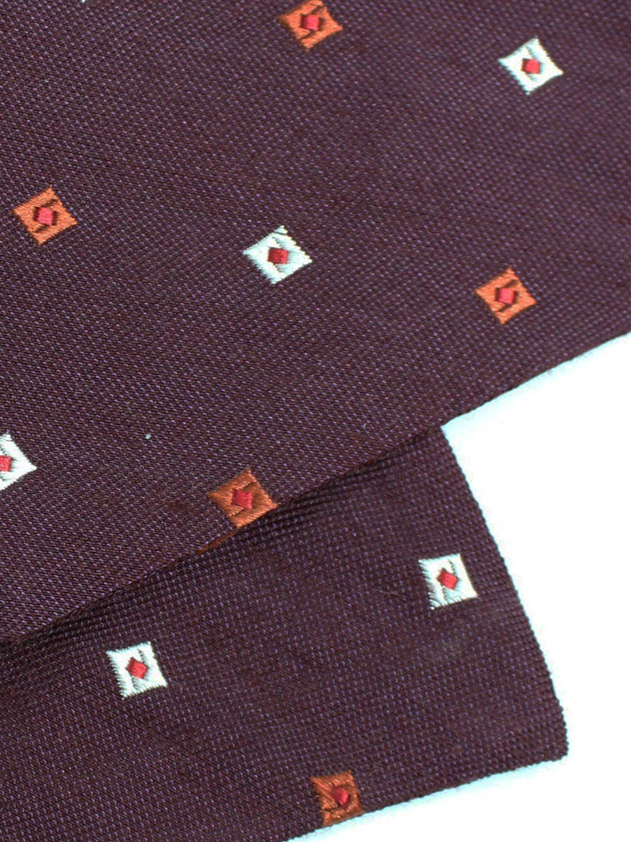 Luigi Monaco Ascot Tie Maroon Diamonds Design Wool Silk