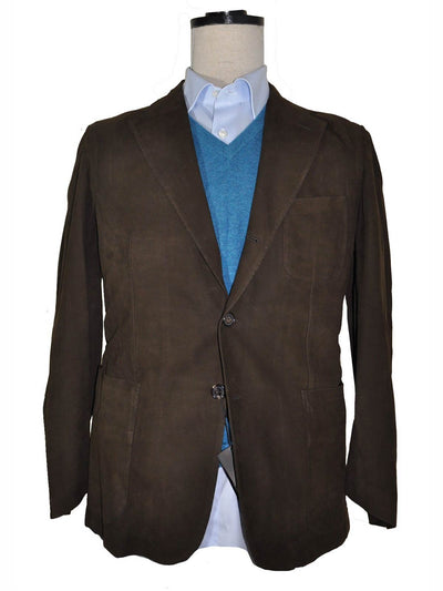 Cesare Attolini Brown Suede Leather Jacket