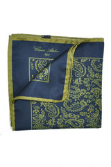 Cesare Attolini Silk Pocket Square Navy Olive Paisley