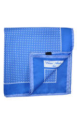 Cesare Attolini Silk Pocket Square Blue