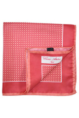 Cesare Attolini Silk Pocket Square Red