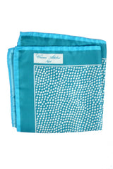 Cesare Attolini Silk Pocket Square Aqua Dots FINAL SALE