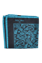 Cesare Attolini Silk Pocket Square Navy Aqua Paisley SALE