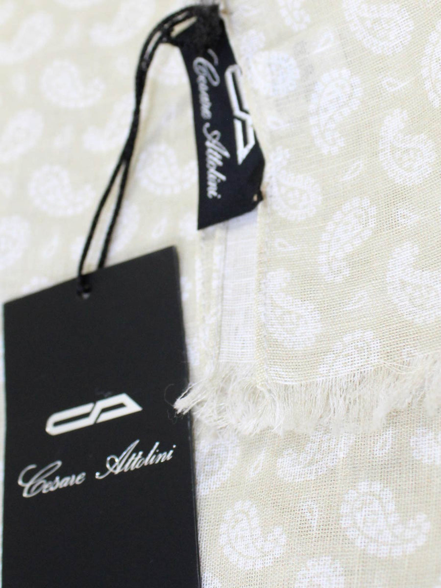Cesare Attolini Scarf Cream White Linen Cotton SALE