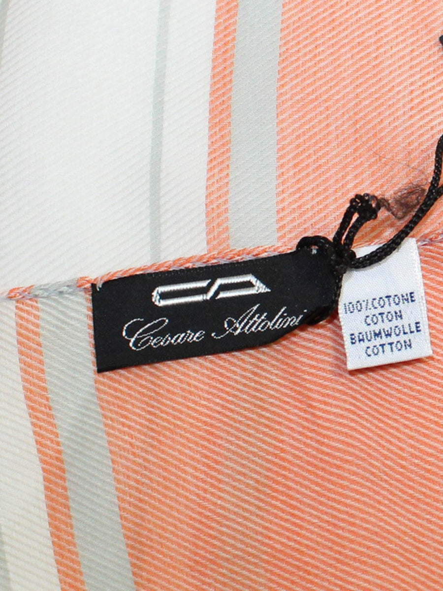 Cesare Attolini Cotton Scarf Orange White - Large Shawl FINAL SALE