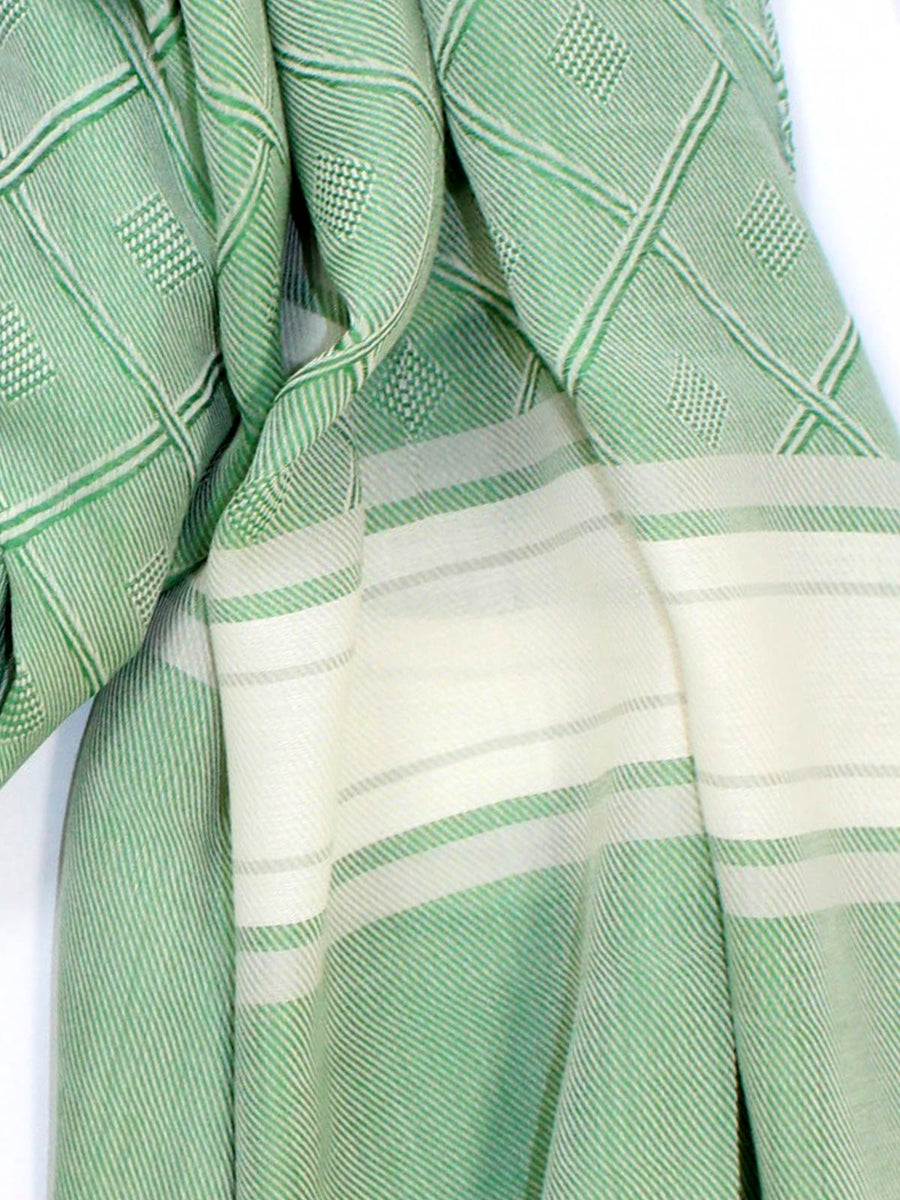 Attolini Cotton Scarf Green Windowpane