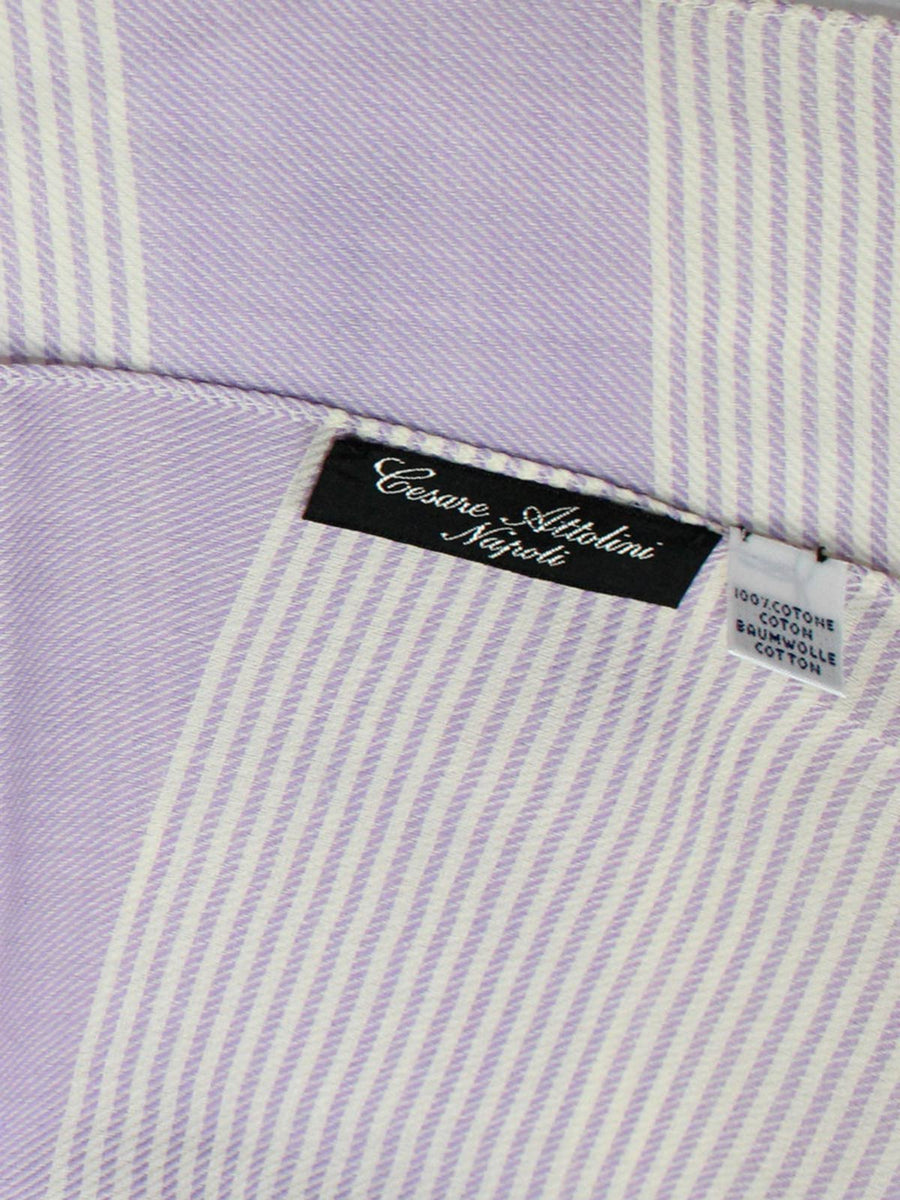 Cesare Attolini Cotton Scarf Lilac White Stripes SALE New