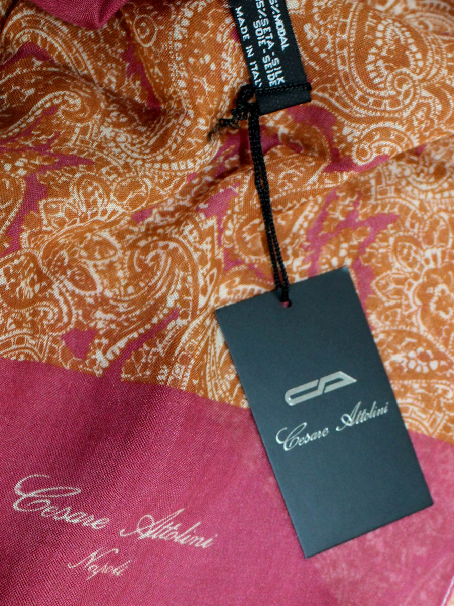 Cesare Attolini Scarf Burgundy Brown Design - Modal Silk SALE