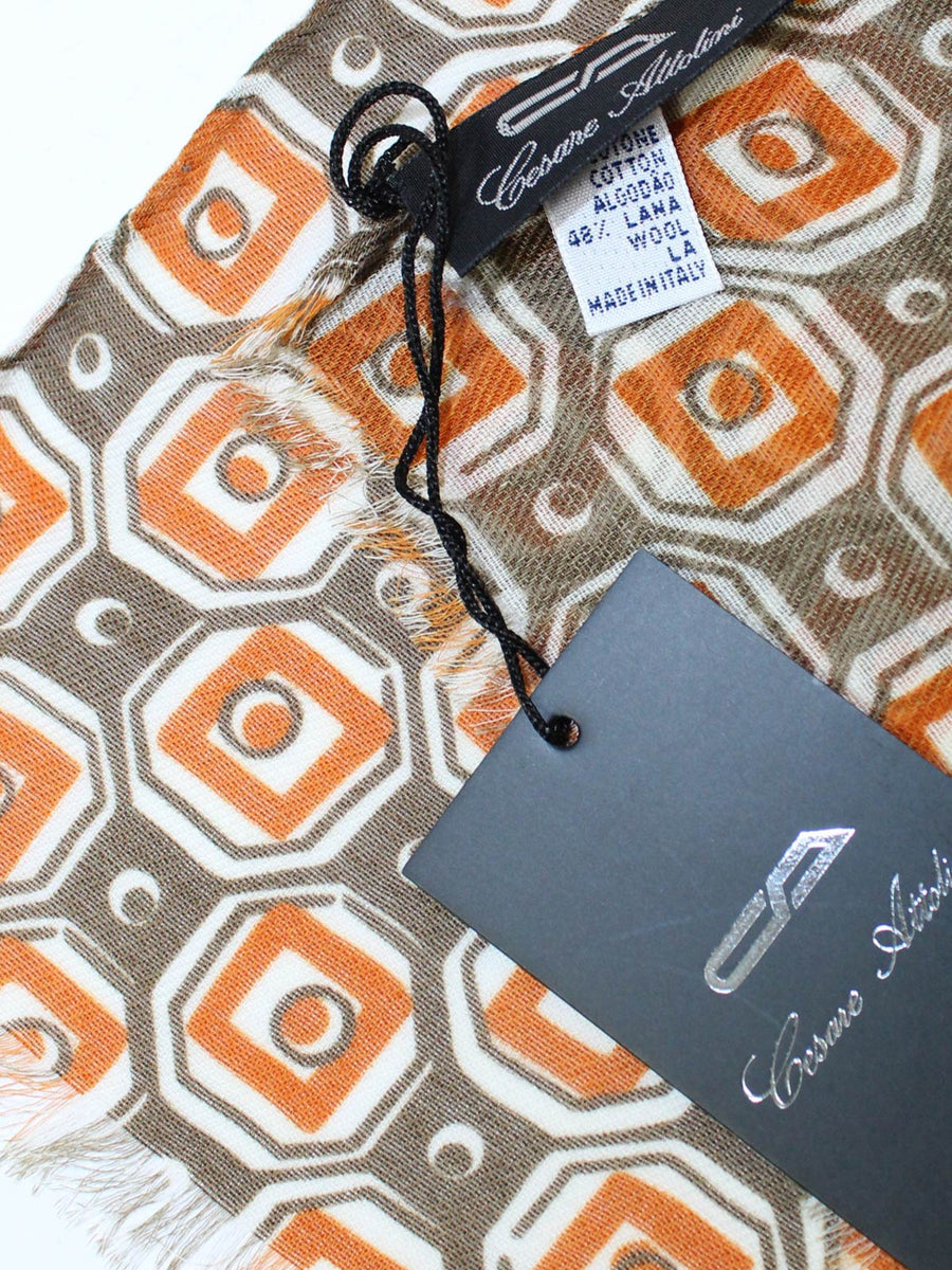 Cesare Attolini Scarf Brown Geometric Design - Wool Cotton