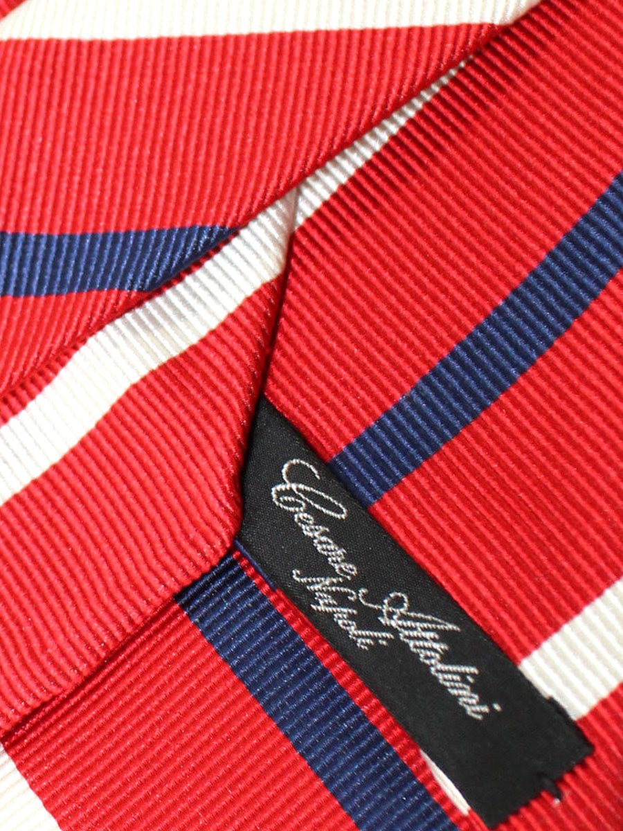 Cesare Attolini Tie Red Silver Navy Stripes Unlined Necktie