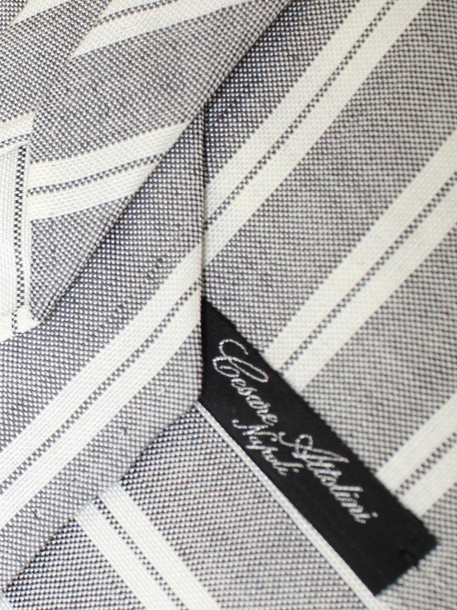 Cesare Attolini Tie Gray White Stripes Unlined Necktie
