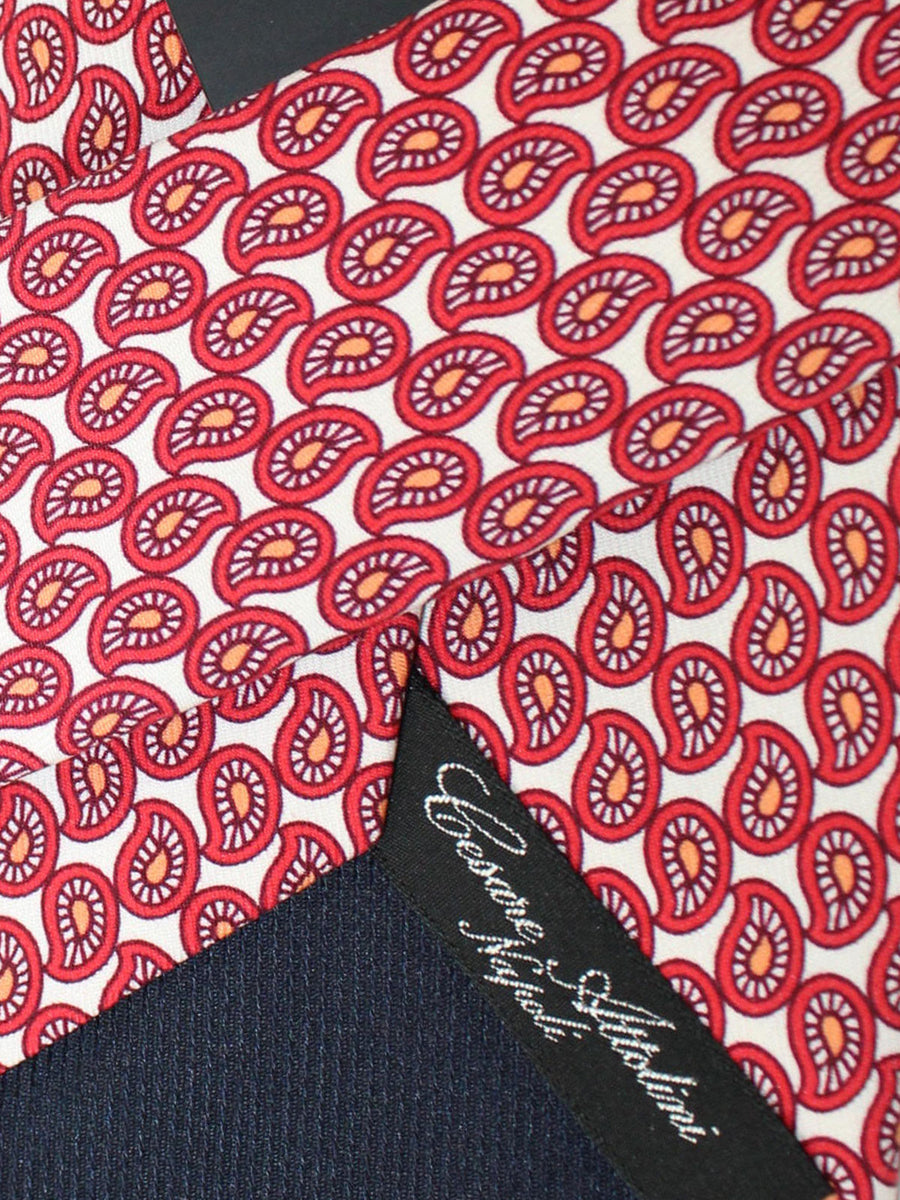 Cesare Attolini Silk Tie White Red Orange Paisley