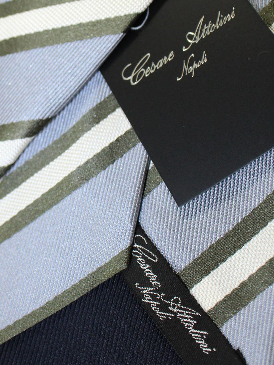 Cesare Attolini Silk Tie Gray Forest Green Stripes