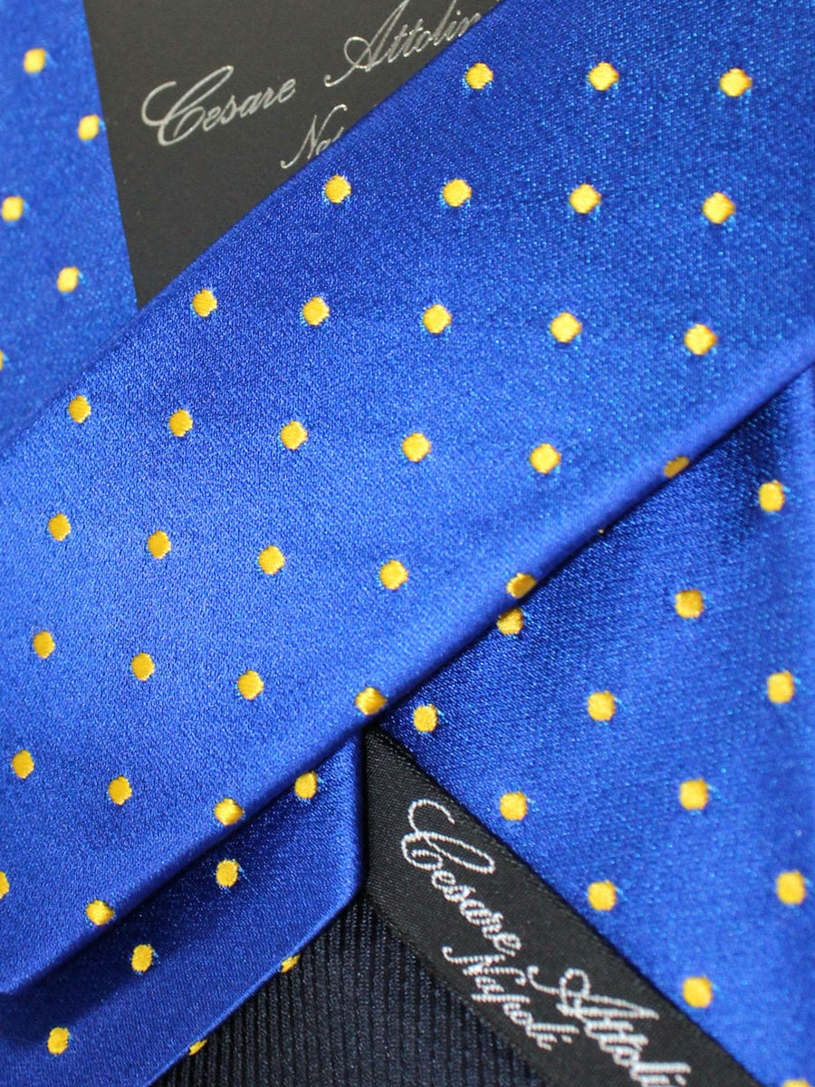 Cesare Attolini Silk Tie Royal Orange Dots