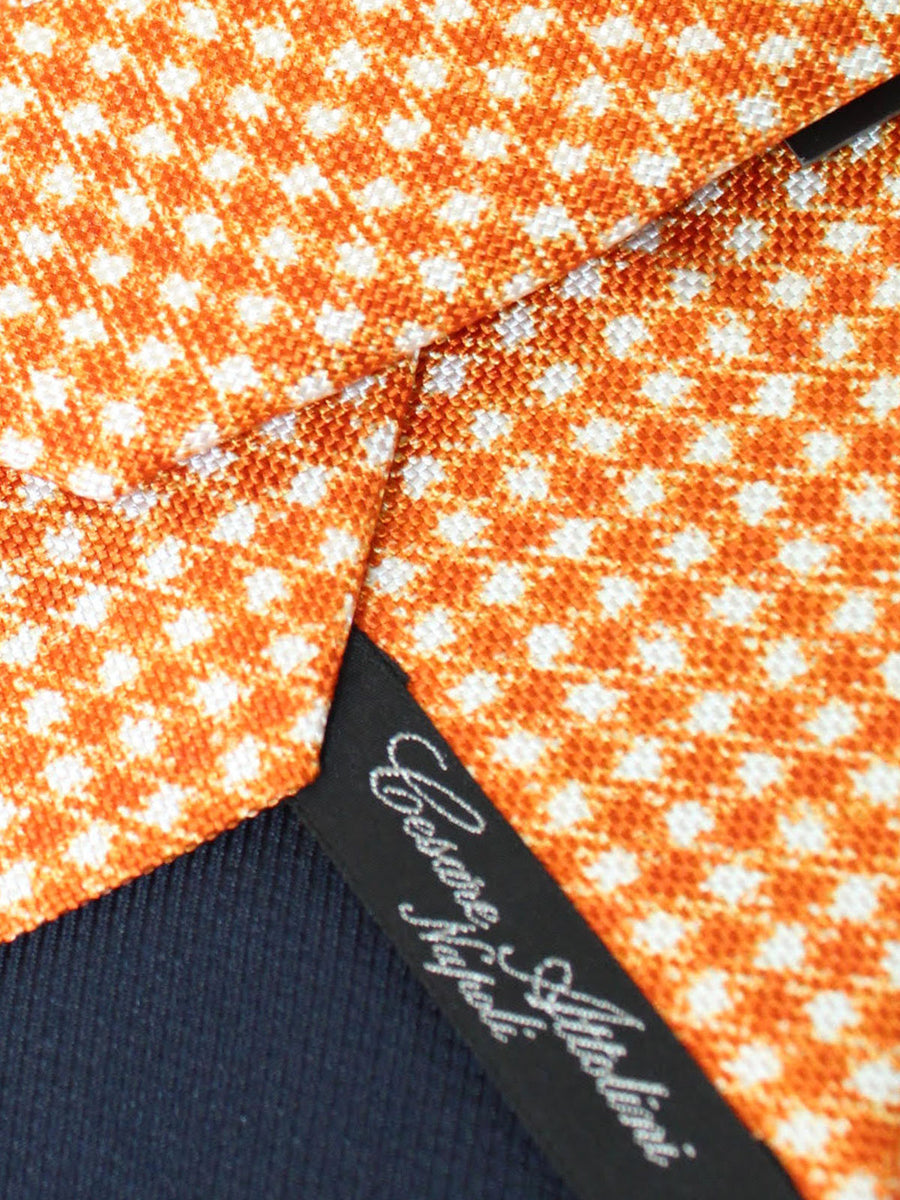 Cesare Attolini Silk Tie White Orange Gingham
