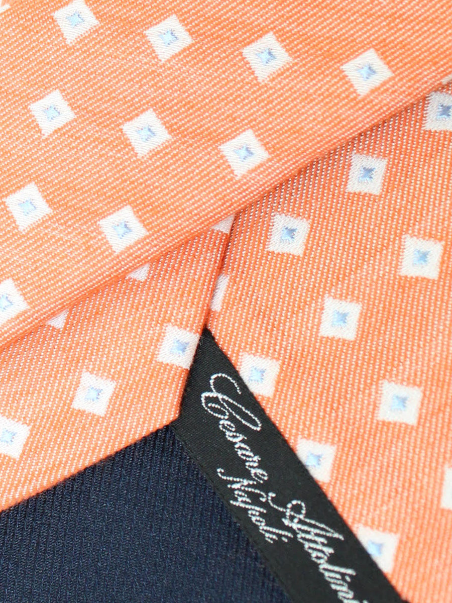 Cesare Attolini Silk Tie Orange White Blue Squares