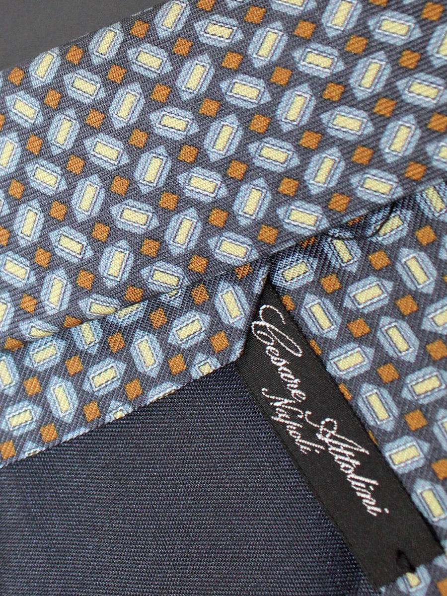 Cesare Attolini Silk Tie Gray Brown Geometric