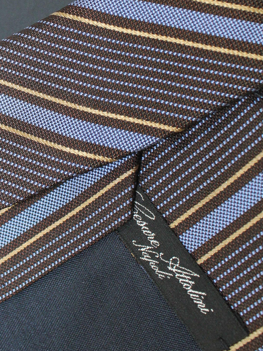 Cesare Attolini Silk Tie Black Blue Mustard Gold Stripes