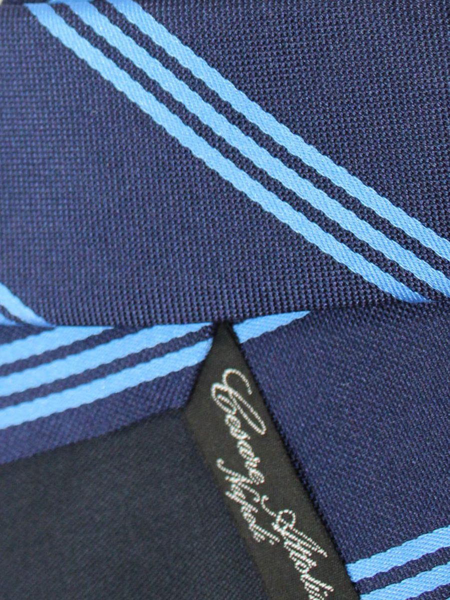 Cesare Attolini Silk Tie Navy Blue Stripes