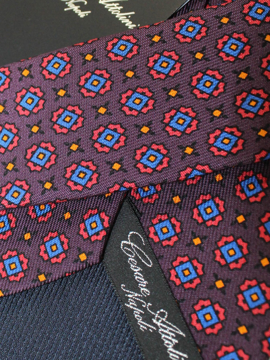 Cesare Attolini Silk Tie Brown Royal Pink Medallions