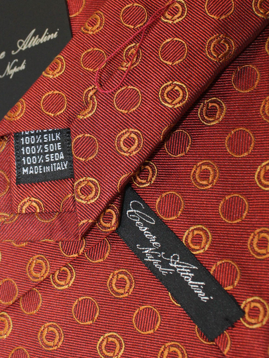 Cesare Attolini Silk Tie Brown Orange Gold Geometric