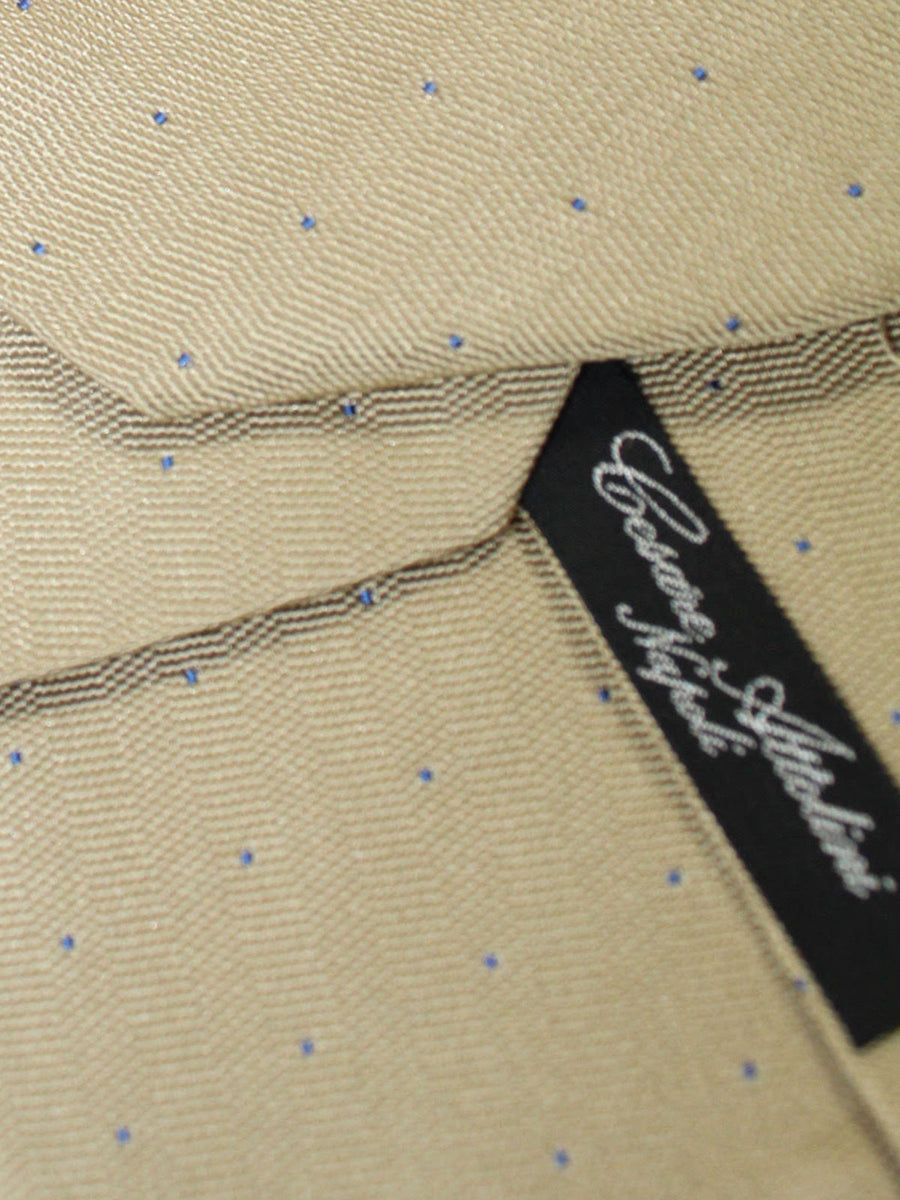 Cesare Attolini Silk Tie Taupe Navy Dots